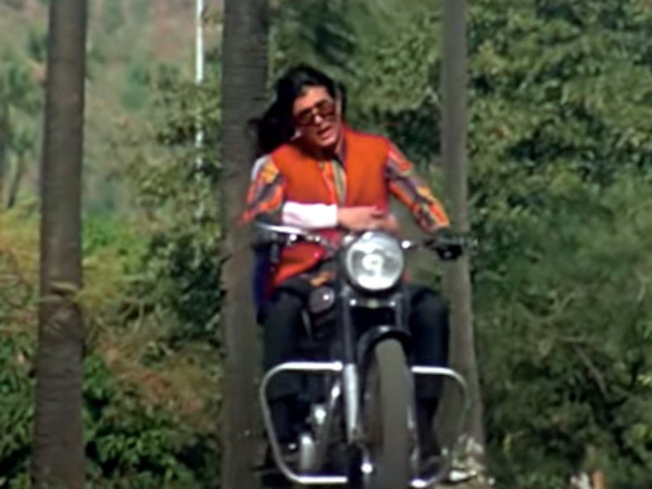 Rajesh Khanna on a Royal Enfield Bullet motorcycle in the song Zindagi Ek Safar Hai Suhana from the movie Andaz (1971).