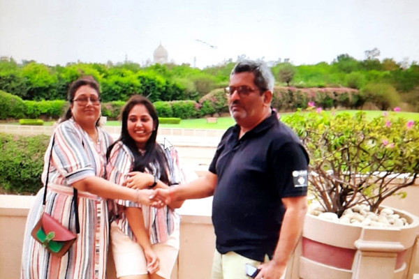 Ashok with his wife, Sangeeta, and his daughter, Shubhra.