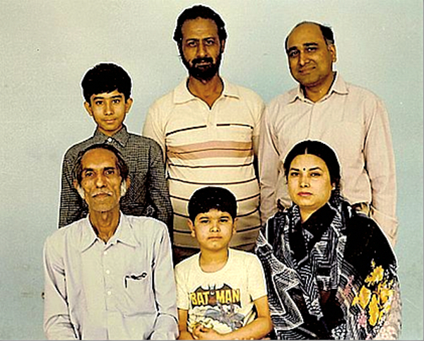 Front: L to R: Master Ashni Kumar Ji (1916-1999), Varoon (Bal Anand's son), Aradhana (Bal Anand's wife). Back: Aditya (Bal Anand's son), Inquilab Singh (Bal Anand's classmate), Bal Anand. c. 1986