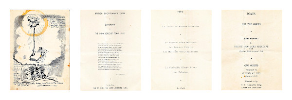 The luncheon invitation letter extended by the British Sportsman Club to the Indian cricket team led by V. S. Hazare in England in 1952.