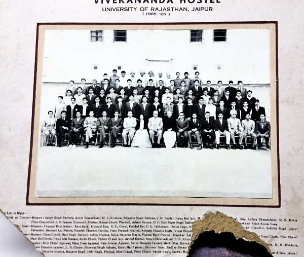 Group photograph of the students resident at Vivekananda Hostel, Rajasthan College from 1965 to 1966, among them Chander Sabharwal.