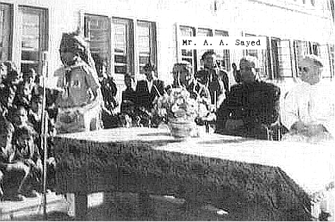 Republic Day celebration. St. Xavier's School, Jaipur. Probably 1963. Speaker: Dhananjai Birla. Sitting at the table: Guests at the school function; extreme right: Father Willmes. Standing behind: Mr. Athar Ali Sayed, scoutmaster.