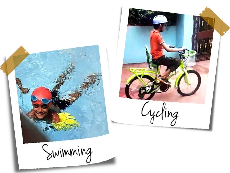 Raj swimming and cycling