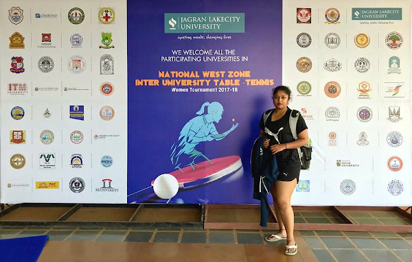 At the National West Zone Inter-University Table-Tennis Women Tournament 2017-18.