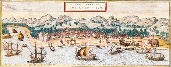 A 16th century painting of Calicut port.