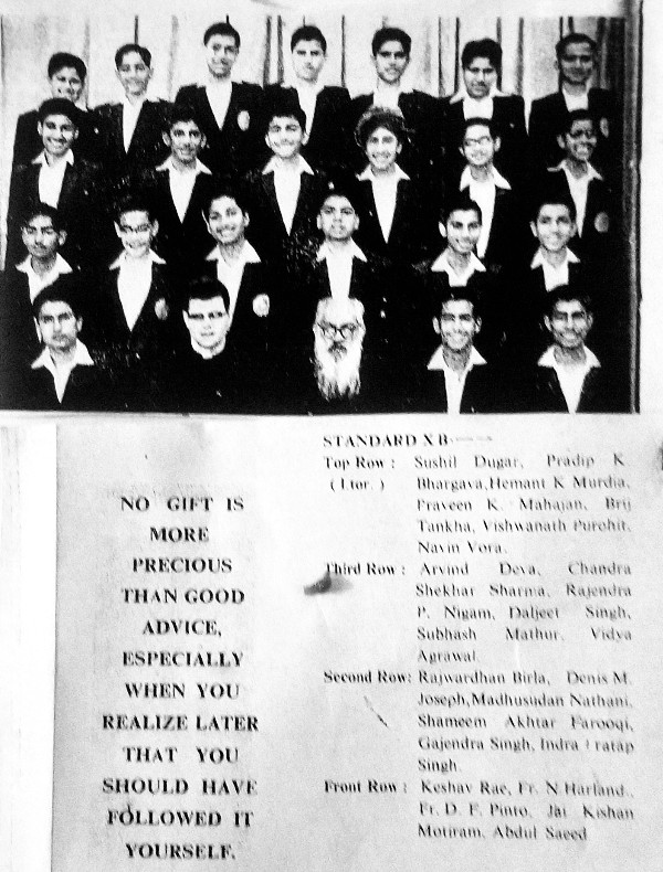 Standard X B of the 1964 batch of St. Xavier's School, Jaipur.