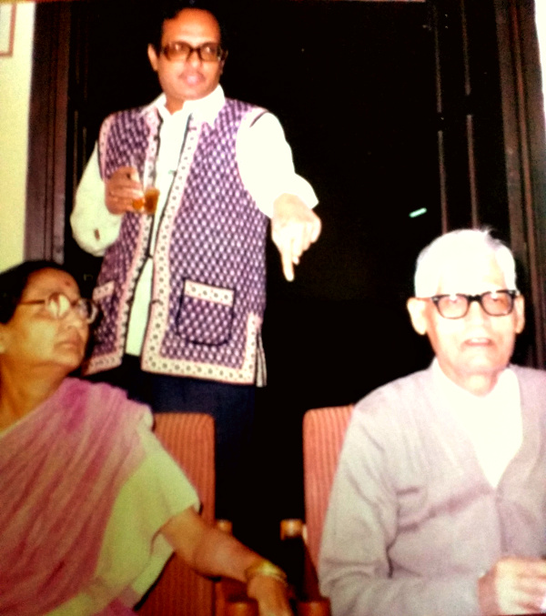 Prof. Brij Mohan Lal Bhatnagar (seated, right) with his wife, Smt. Ramani Bhatnagar (seated, left) and son-in-law, Subhash Mathur (standing, back).