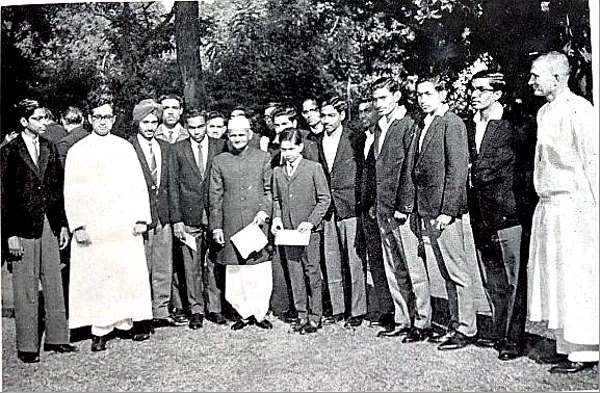 Prime Minister Shastri in the centre, at his home in New Delhi, December 1965. Fr. Grace on the extreme right. Others in the picture are cast members of Dial M for Murder play, schoolmates, and teachers, St. Xavier's School, Jaipur.