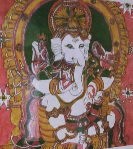 Lord Ganesha on throne blessing his devotees. Acrylic painting by Vatsala Rao