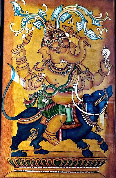 Lord Ganesha riding his vaahana, the mouse. Acrylic painting by Vatsala Rao