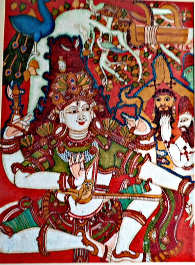 Lord Shiva sitting in a playful mood with his ganas. Acrylic painting by Vatsala Rao