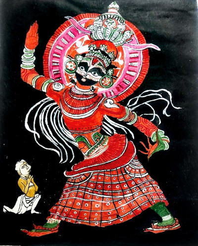 A yakshani being worshipped. Acrylic painting by Vatsala Rao